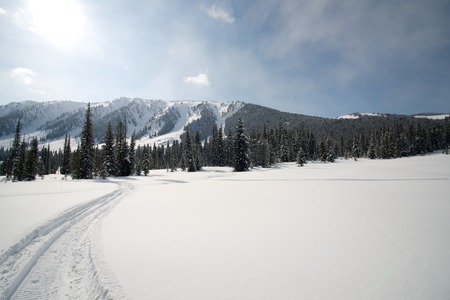 crosscountry: snowmobile trail from the mountains in the background Stock Photo