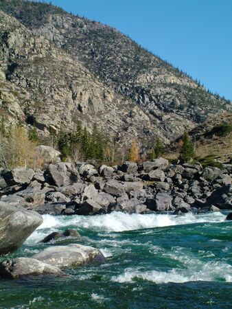 river rafting: Mountain river with the thresholds