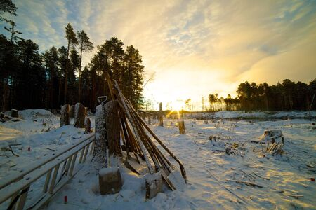Archaeological camp in the Altai region of manufactured excavations, Russia Stock Photo