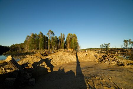manufactured: Archaeological camp in the Altai region of manufactured excavations, Russia Stock Photo