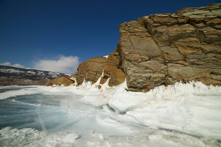 Baikal Lake. Olkhon Island. The famous natural landmark Deva Rock Virgin Rock at the northern Cape Khoboy