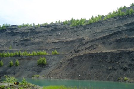 Abandoned quarry for coal mining in the Kemerovo region