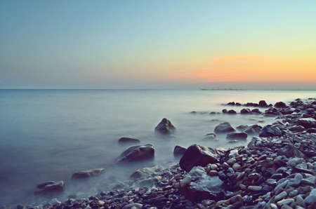 beautiful sunset on the sea photo