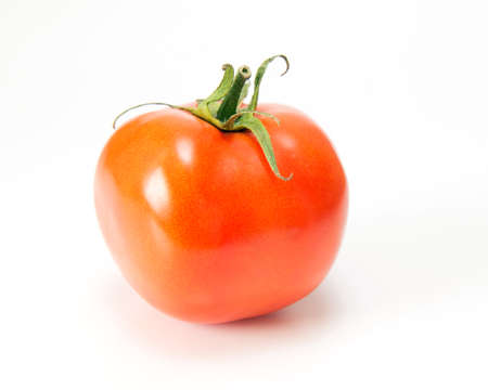 no way out: ripe tomato on a white  Stock Photo