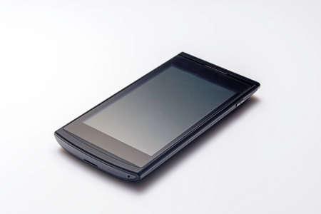black and white: black phone on white background