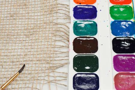 gouache: gouache paint tassel and canvas material Stock Photo