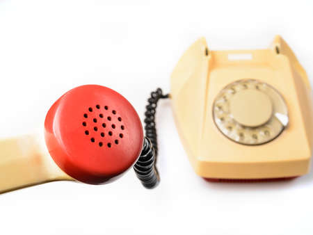 old rotary telephone on white Stock Photo