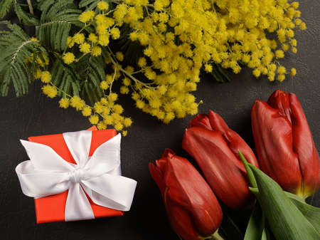 red box with a ribbon and a number of tulips and Mimosas Archivio Fotografico