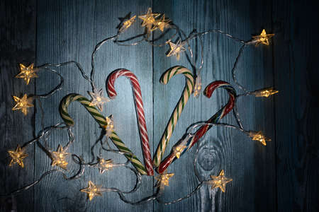 Christmas lollipops and shining lights