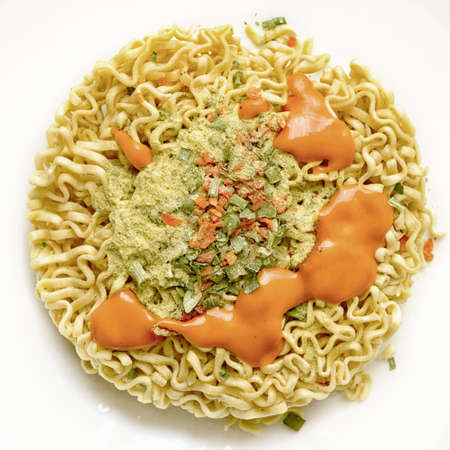 instant noodles prepared for brewing