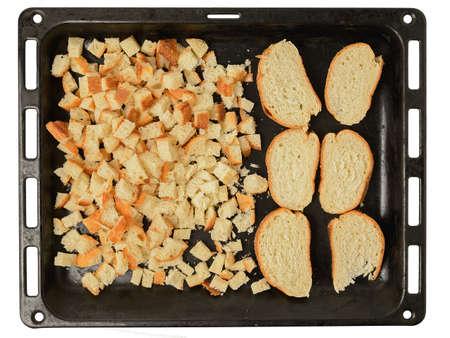 sliced bread on protvin for drying Archivio Fotografico