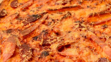 delicious fried pizza with bacon Archivio Fotografico