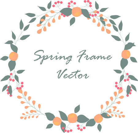 floral round frame for events or framing cards. vector illustration