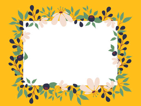 yellow greeting card with spring summer blooming flowers and space for text Illusztráció