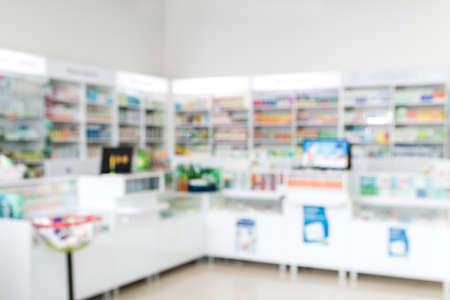 blurred background of cashier, counter in pharmacy or in hospital Stockfoto