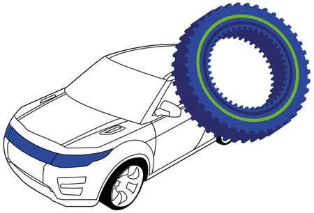 auto service: Service Station  Gear and auto Illustration