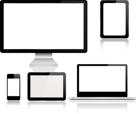 palmtop: Realistic vector set of  laptop, smartphone and computer with empty white screens Device mockup template.Vector Electronic Media Devices