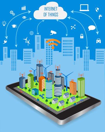다른 아이콘 및 요소와 사물의 개념과 클라우드 컴퓨팅 기술의 인터넷. 사물의 인터넷은 앱과 구름.