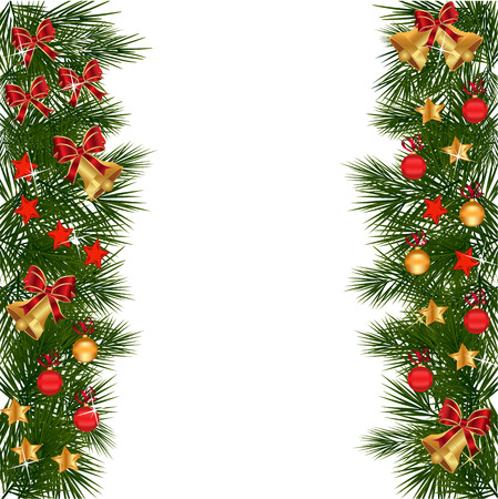 christmas garland with decorations and green leaves over white backgroundchristmas holly set holly christmas