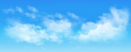 Fond avec des nuages sur le ciel bleu. Vecteur de ciel bleu Vecteurs