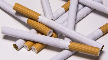 Cigarette on white background, unhealthy lifestyle, toxic nicotine Stok Fotoğraf