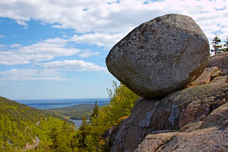 View of giant boulder Atlantic Coast of Maine.