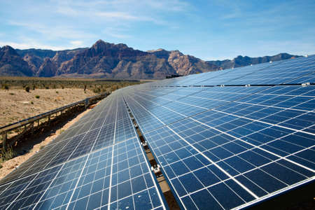 View of solar panels in the Mojave Desert. photo