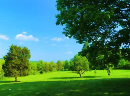 painterly: Painterly Connecticut rural summer landscape. Stock Photo