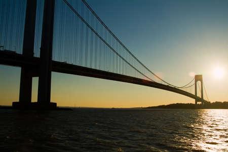 narrows: Verazzano Narrows Bridge at sunset. New York.