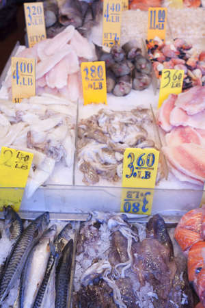 Fresh catch of fish at the seafood market.