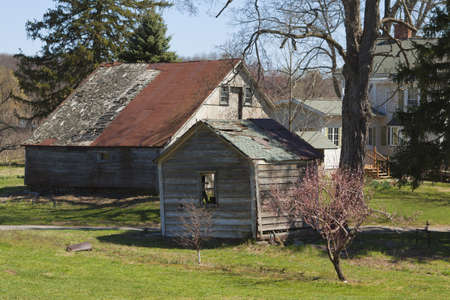 Old country barn on farmland photo