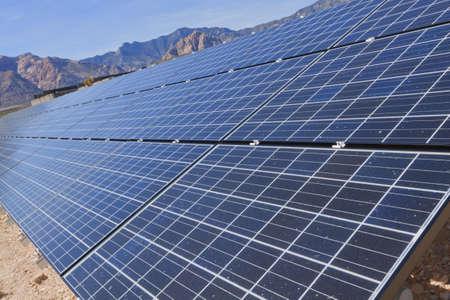 power grid: View of solar panels in the Mojave Desert.