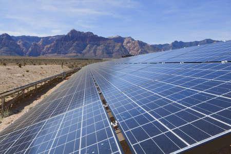 sun energy: View of solar panels in the Mojave Desert.