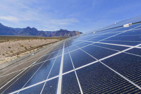 mojave desert: View of solar panels in the Mojave Desert.