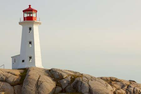 lighthouse with beam: Peggys Cove Lighthouse. Nova Scotia