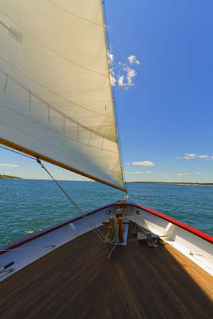 Views of the mast, sails and rigging on the private sail yacht. Stock Photo