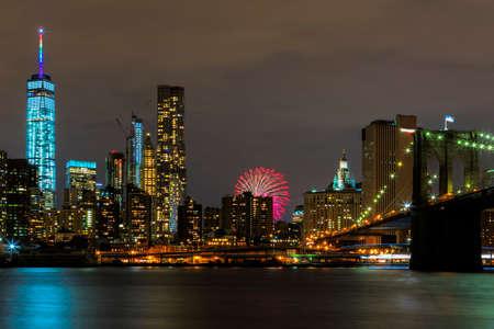 new york state: Bright lights of New York City at night.