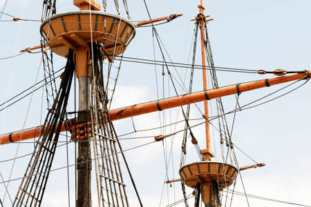 Rigging on the ancient tall ship.