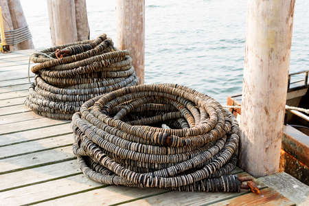 commercial fishing: Detail of commercial fishing boat equipment at the dock. Stock Photo