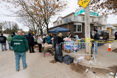 hurricane sandy: STATEN ISLAND, USA - NOVEMBER 4: The images of devastation caused by the Hurricane Sandy  and rescue services response November 4, 2012 on the streets of Staten Island, USA. Editorial