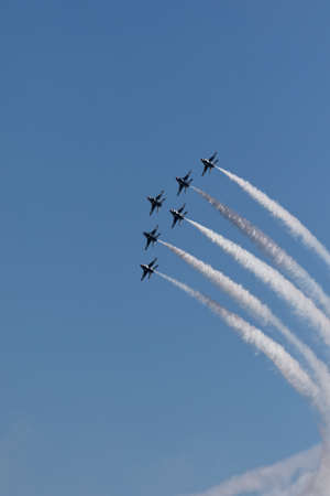 NEW YORK CITY, USA -MAY 23: U.S. Air Force Thunderbirds Team performing aerial stunts during New York Air Show on May 23,2015. Редакционное