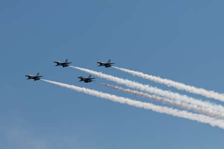 NEW YORK CITY, USA -MAY 23: U.S. Air Force Thunderbirds Team performing aerial stunts during New York Air Show on May 23,2015. Editoriali