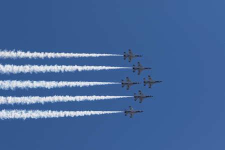 thunderbird: NEW YORK CITY, USA -MAY 23: U.S. Air Force Thunderbirds Team performing aerial stunts during New York Air Show on May 23,2015. Editorial