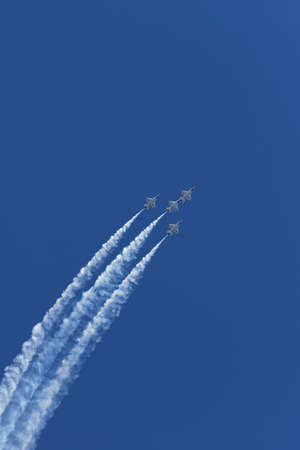 NEW YORK CITY, USA -MAY 23: U.S. Air Force Thunderbirds Team performing aerial stunts during New York Air Show on May 23,2015. Editorial