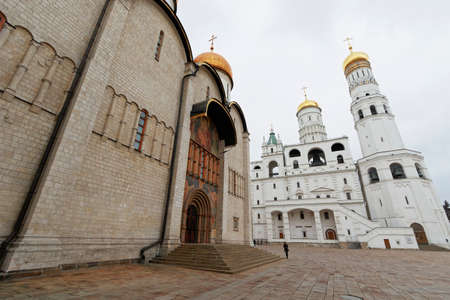MOSCOW, RUSSIA - APRIL 8, 2015: Views of the territory of the Moscow Kremlin on April 8, 2015. The Kremlin is a fortified complex at the heart of Moscow, overlooking the Moskva River to the south, Saint Basil's Cathedral and Red Square to the east, and th