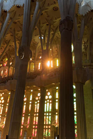 Barcelona, Spain - November 9, 2015: La Sagrada Familia is a UNESCO World Heritage Site, drawing an estimated 2.5 million visitors annually. Editorial