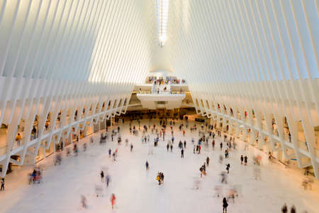 replaces: New York, USA-August 18, 2016: Oculus transportation hub replaces the PATH train station that was destroyed during the 911 terrorist attacks.
