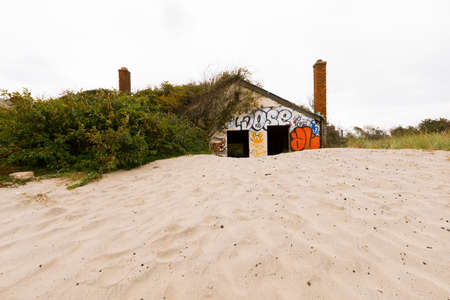 New York City, USA- September 28, 2016: Fort Tilden is a former US Army installation that is now abandoned and covered in graffiti.