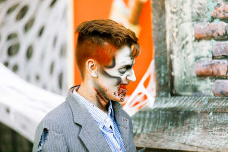 Jackson, USA-September 24, 2016: Street performer in Halloween costume and makeup is entertaining crowds. Editorial