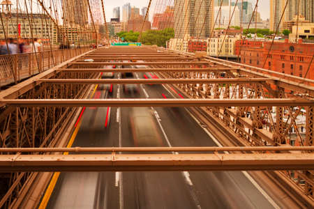 Views of historic Brooklyn Bridge in New York City. Stock fotó